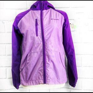 Columbia Girls Hooded Windbreaker Purple Jacket XL